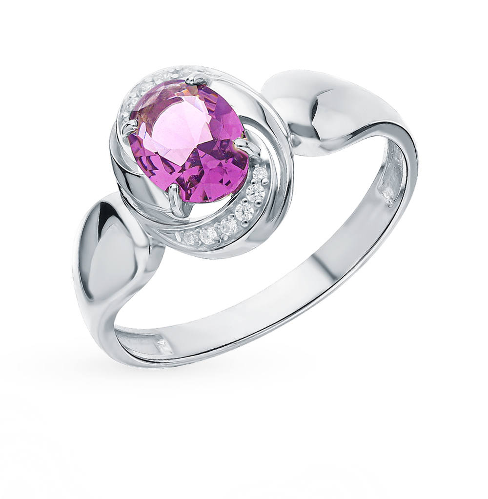 Silver Ring With Crystals And Cubic Zirconia Sunlight Sample 925