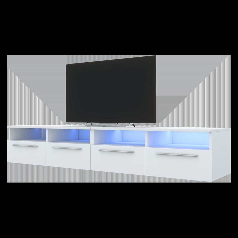 Selsey PHIRIS DOUBLE - Meuble tv / Banc tv (2x100 cm, blanc mat / blanc brillant, éclairage LED) 3