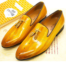 Bright Colors Size 13 Mens Tassel Loafers Patent Leather Yellow Shinny Wedding P