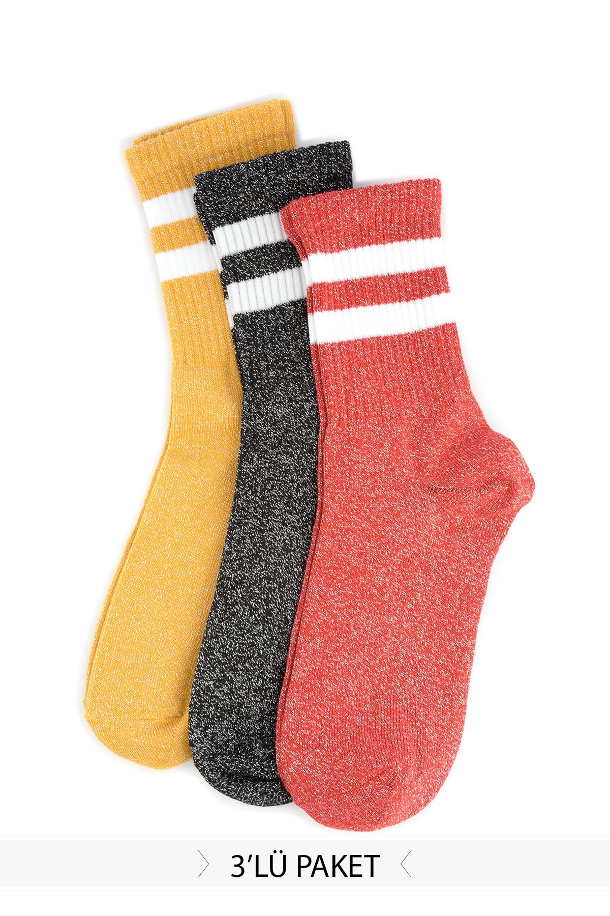 Trendyol 3'lü Lurex Spliced Socks TWOSS20CO0020