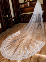 Wedding Veils Cathedral Waterfall Lace Applique 2 Tier Long Bridal Veils