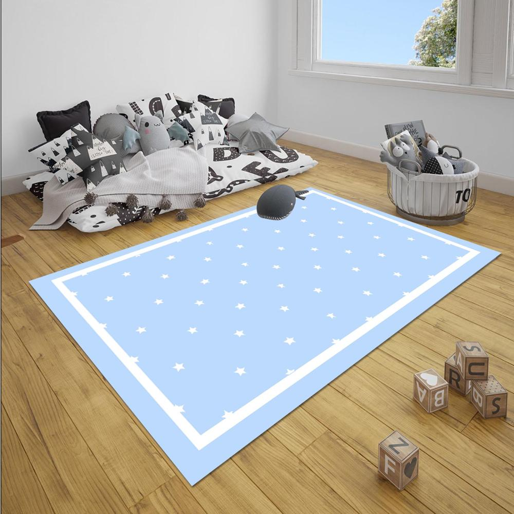 Else Blue White Border Stars Boy 3d Print Anti Slip Microfiber Children Baby Kids Room Decorative Area Rug Mat