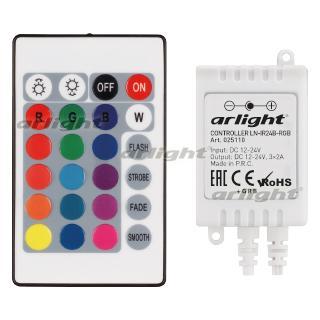 025110 Controller LN-IR24B-RGB (12-24 V, 3x2A, REMOTE CONTROL Card 24 Kn) [plastic]...