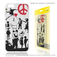 FunnyTech®Stand case for Samsung Galaxy A5 Silicone 2017 Banksy Graffiti collage Clear