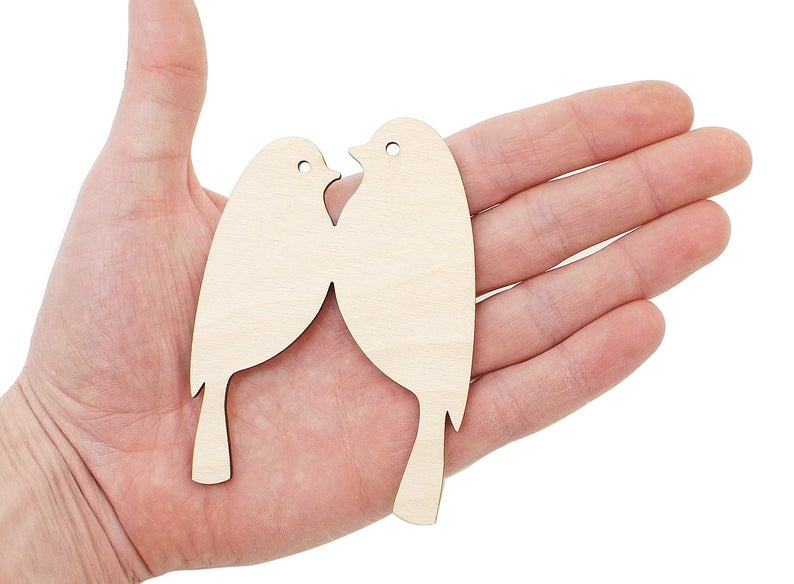 Wooden Birds in Love (10cm) Shape Wood Cutout Embellishment Craft Decoration Gift Decoupage Blank 0994 image