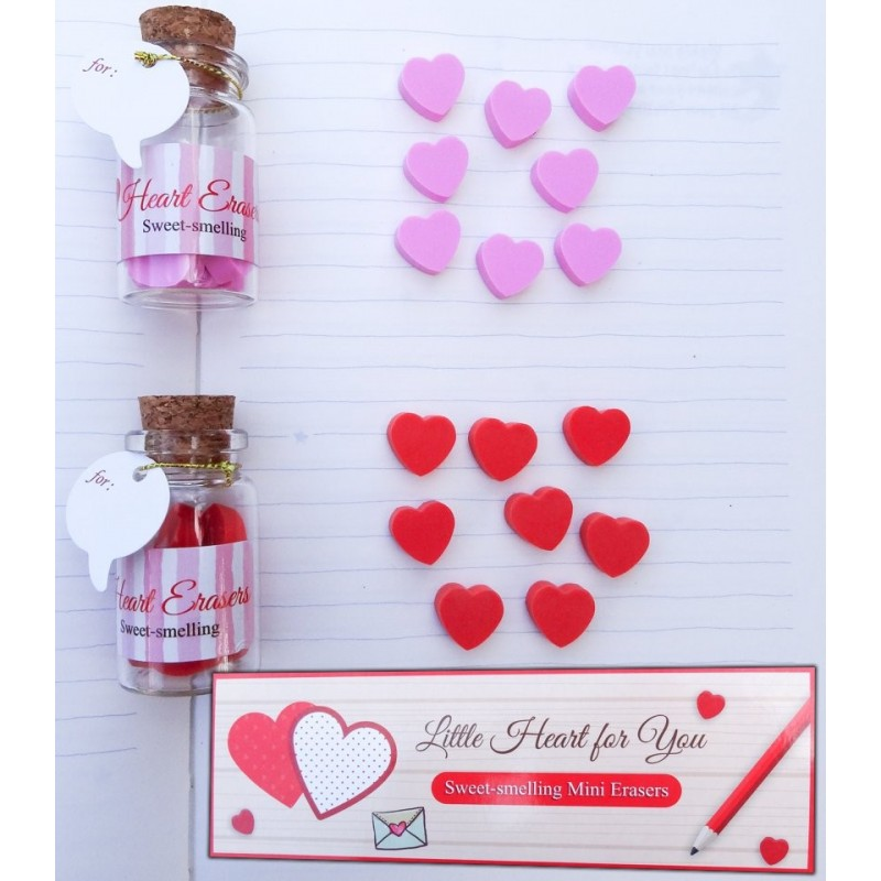 Bottle With Scented Hearts Mini Erasers