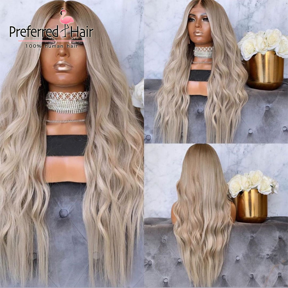 Preferred Ash Blonde Highlights Lace Front Wig Pre Plucked Brazilian Remy Loose  Wave Wig Ombre Human Hair Wigs For Black Women