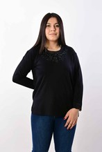 Women's Large Size Collar Embroidered Black Blouse 2602