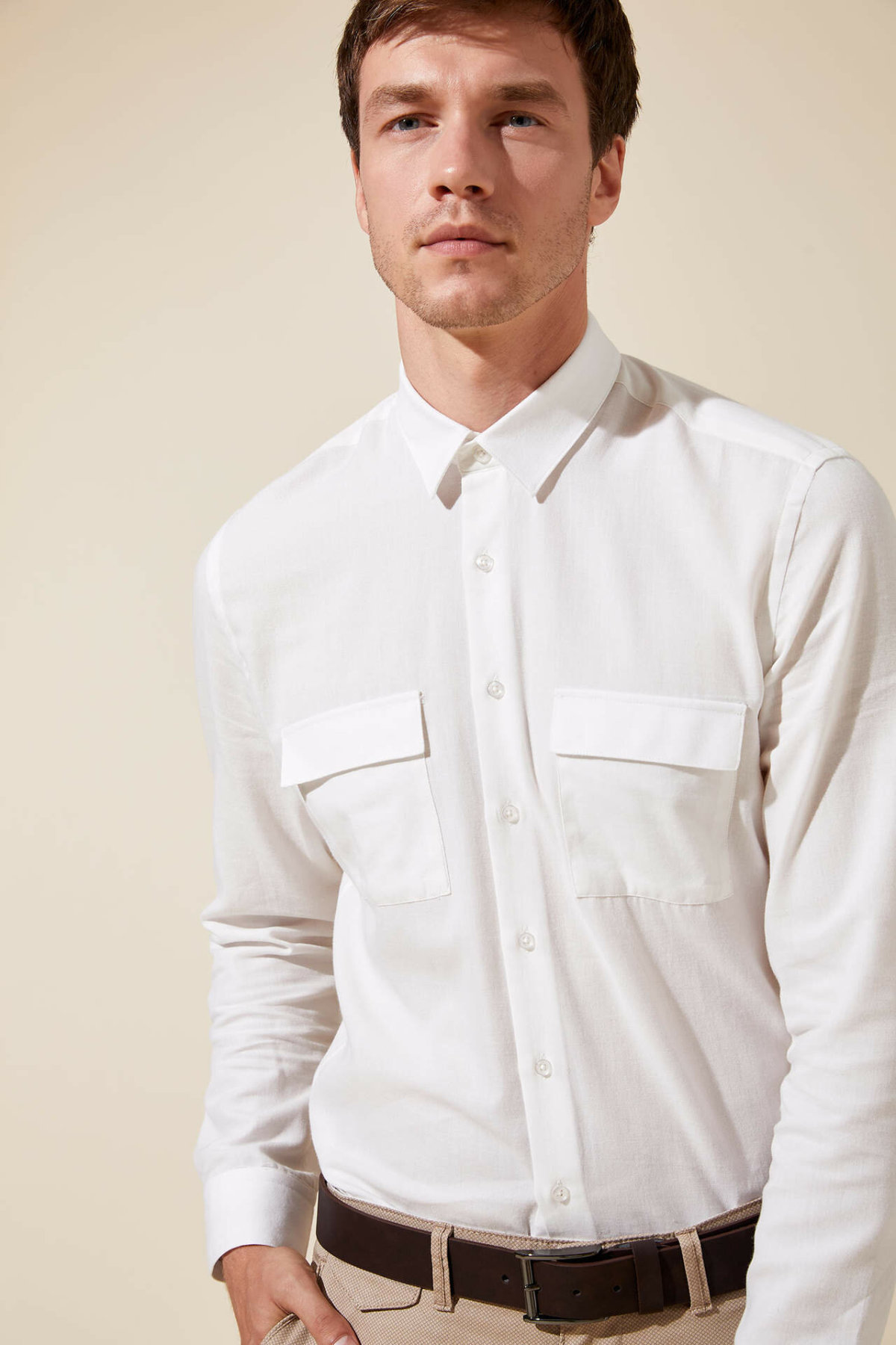 DeFacto Formal Fashion Man Long Sleeve Shirt Autumn Male Formal Pure Color Blouser Men's Simple Shirts White New - L4546AZ19HS