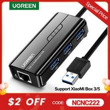 Ugreen – HUB Ethernet USB 3.0/2.0 vers RJ45, pour ordinateur, décodeur Xiaomi Mi Box 3/S, adaptateur Ethernet, carte réseau, USB Lan