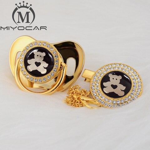 miyocar ouro prata adoravel urso ouro bling chupeta e chupeta clipe bpa manequim livre bling