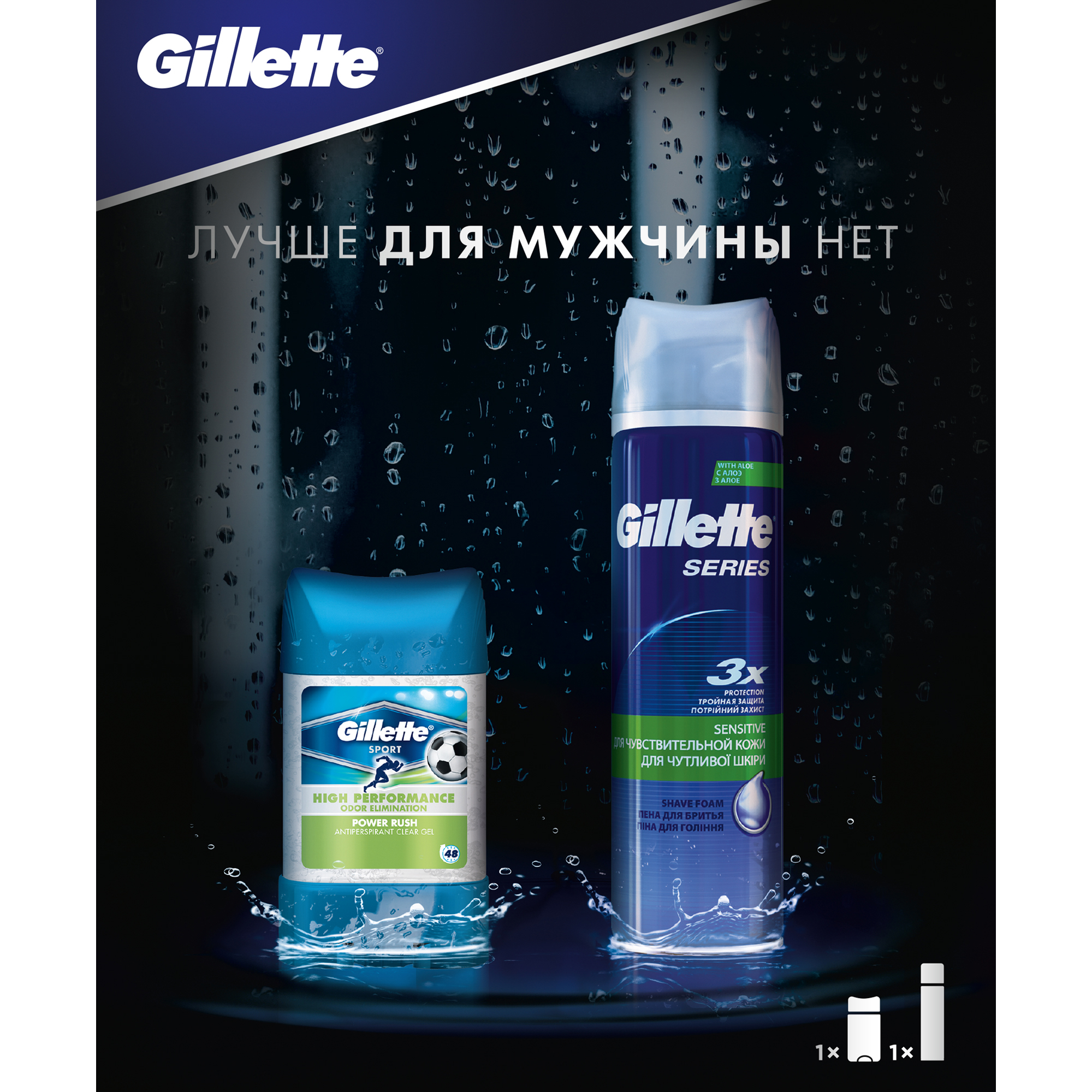 Gillette Gift Set (Gillette Series Shaving Foam 250 ml + Gillette Power Beads Power Rush 75 ml Antiperspirant Deodorant) подарочный набор gillette пена для бритья series 250 мл гелевый антиперспирант дезодорант power beads power rush 75 мл