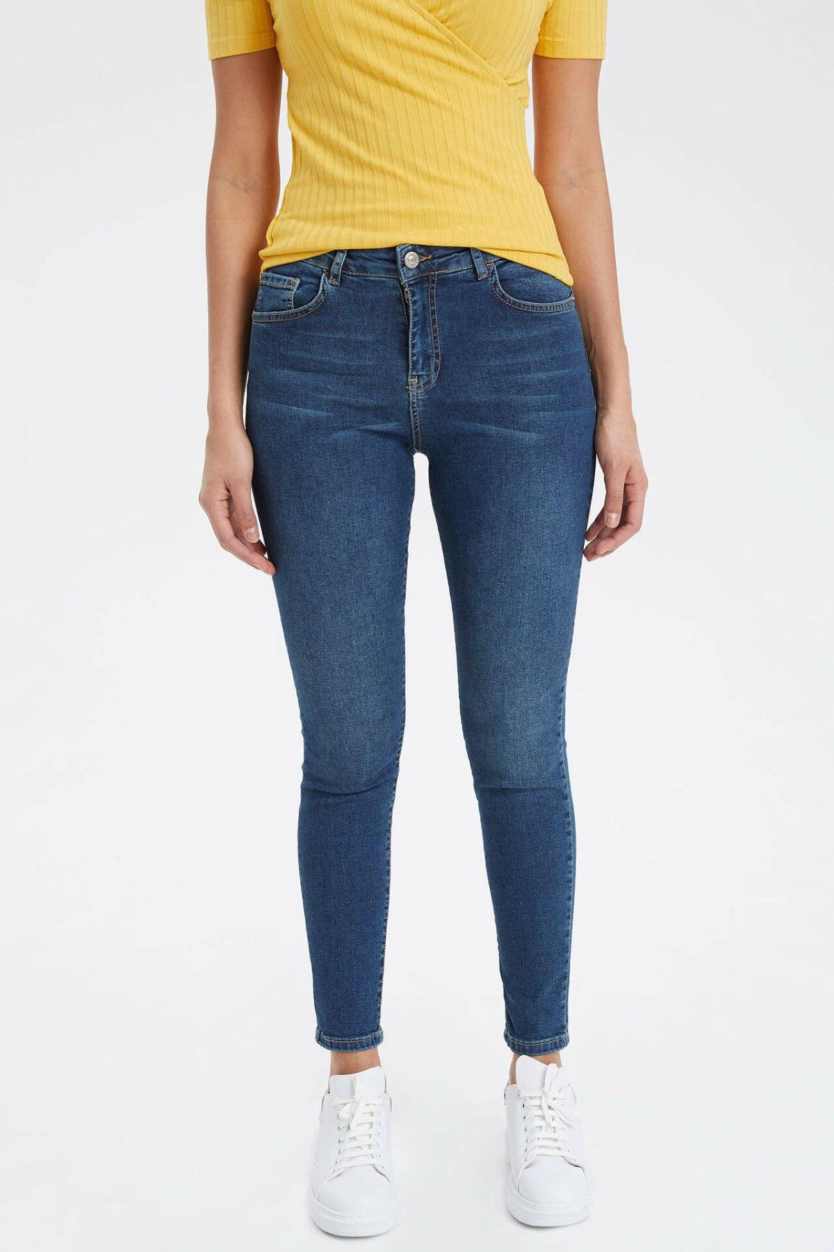 DeFacto Woman Spring Skinny Blue Denim Jeans Women Casual Mid-waist Denim Pants Women Casual Denim Trousers-K5716AZ19SP