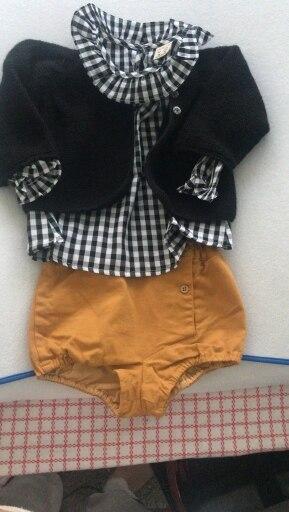 Spring Baby Girls Blouses Kids Peter Pan Collar Cotton Shirt Girls Long Sleeve Plaid shirt Clothes Girl Tops 3 Designs photo review