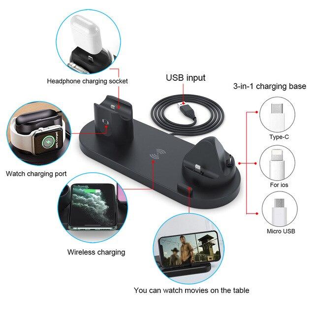 6 in 1 Wireless Ladestation USB-C 10W QI Schnellladegerät 4