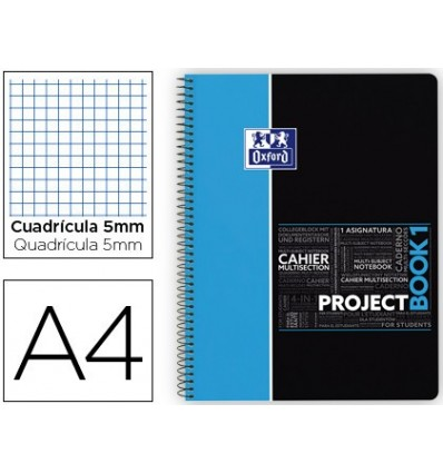 NOTEPAD SPIRAL OXFORD PLASTIC CAP MICROPERFORATED PROJECTBOOK1 DIN A4 80 SHEETS 90 PICTURES 5 MM BLUE APP