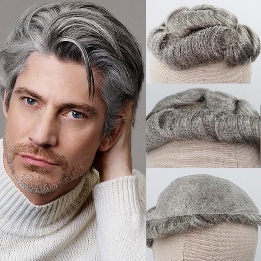 YY Wigs Brown Mixed Grey Human Hair Toupee For Men #5 80% Gray Remy Hair Replacement System Curly Skin PU Men's Toupee