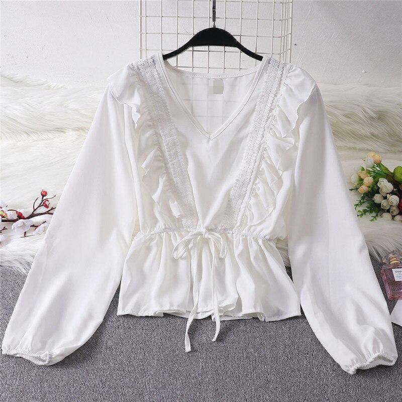 Automne printemps chemise chemisier Femmes dames Volants Élégantes décontracté à manches longues V Cou Vêtements Mode Chaude solide Bandage haut blouse