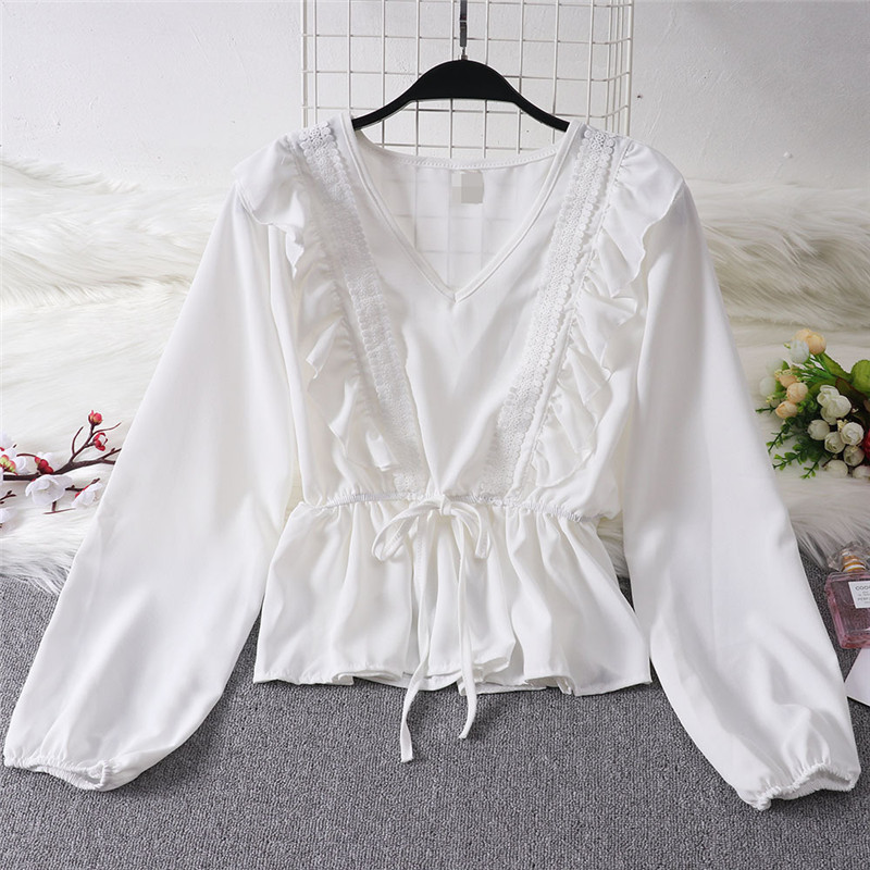 Autumn Spring Shirt Blouse Women Ladies Ruffles Elegant Casual Long Sleeve V Neck Clothes Hot Fashion Solid Bandage Blusas Tops