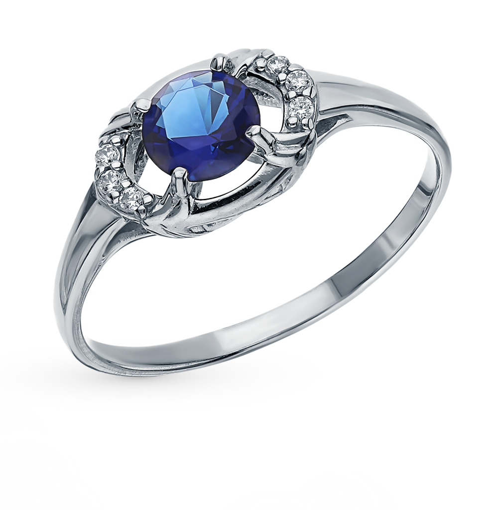 Silver Ring With Sapphires And Cubic Zirconia Sunlight Sample 925
