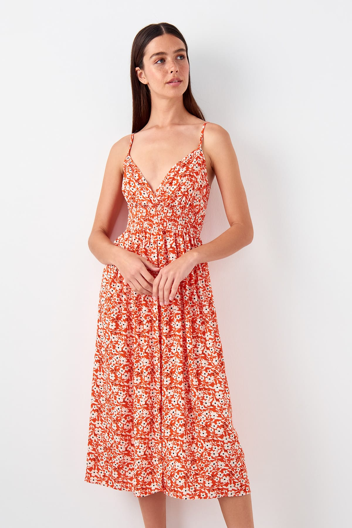 Trendyol Beli Gipeli Flower Decorated Dress TBESS19EL0539