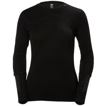 Helly Hansen Model W HH LIFA MERINO CREW reference 48341 color 990 BLACK. Women's thermal underwear T-shirt.