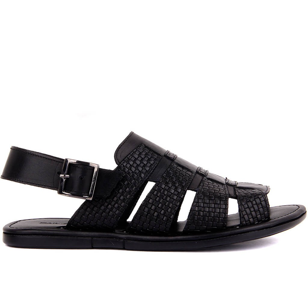 Sail-Lakers Black Leather Male Sandals