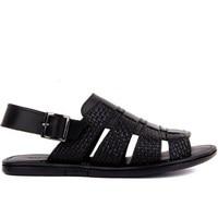 Sail Lakers Black Leather Male Sandals|Men's Sandals|   -