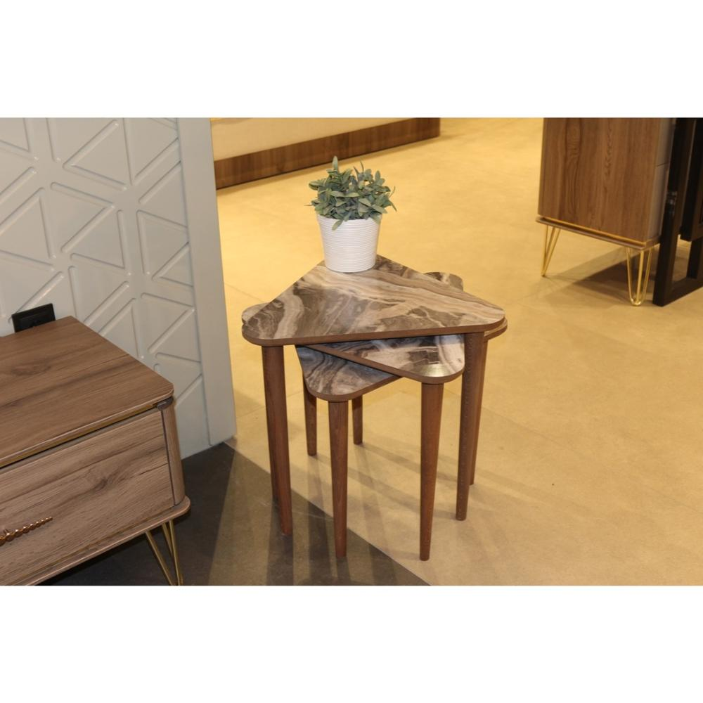 MADE IN TURKEY 3 Pieces Coffee Tables Marble Mini Modern Practical Tea Tables Triangle Living Room Zigon Wood Home Accessories