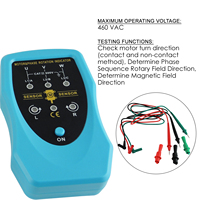Phase Sequence Rotary and Motor Rotation Indicator 120~460VAC Conveyors Pump Tester Meter Industrial Tool