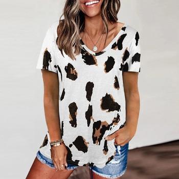 Leopard V Neck tshirts Woman Top Short Sleeve Loose T-shirt Women Casual Soft Tops Tee Shirts Female harajuku mujer camisetas 1