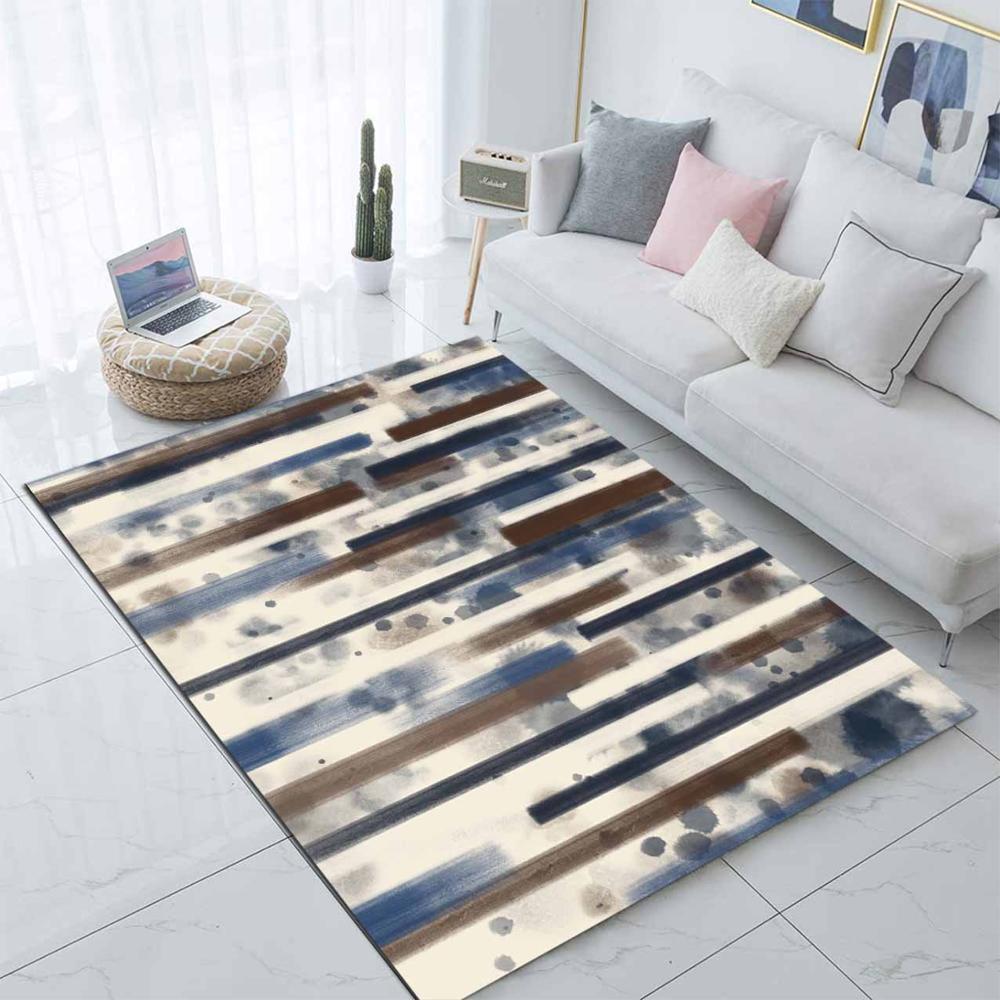 Else Blue Brown Watercolor Stripes Lines Nordec 3d Print Non Slip Microfiber Living Room Decorative Modern Washable Area Rug Mat