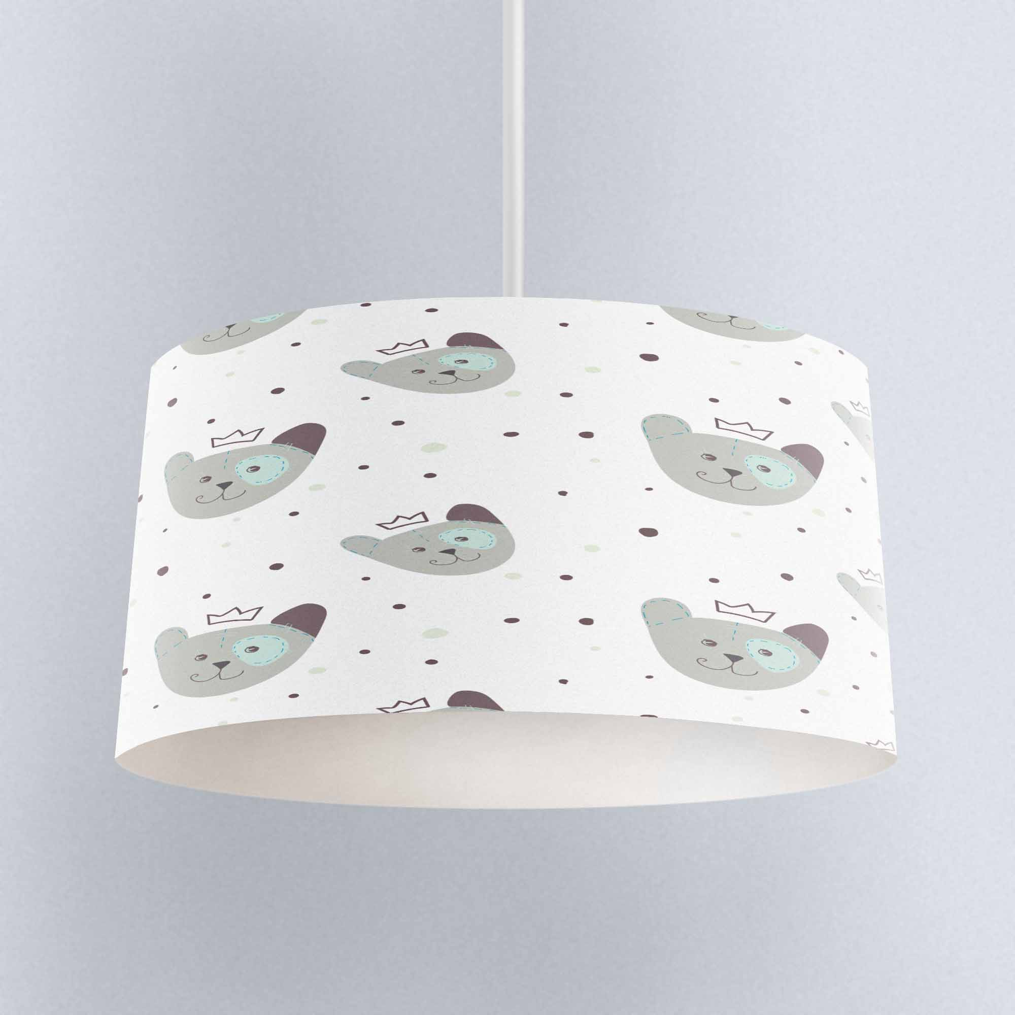 Else Gray Small Bears Dots Print Fabric Kids Chandelier Lamp Drum Lampshade Floor Ceiling Pendant Light Shade