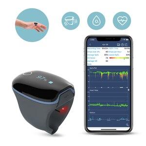 """Image 1 - שינה Oximeter קצב לב חמצן הרוויה צג עבור דום נשימה בשינה כושר עם רטט מעורר APP מחשב דו""""ח טיפול אופניים O2Ring"""