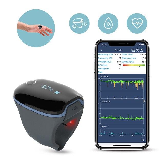 """שינה Oximeter קצב לב חמצן הרוויה צג עבור דום נשימה בשינה כושר עם רטט מעורר APP מחשב דו""""ח טיפול אופניים O2Ring"""