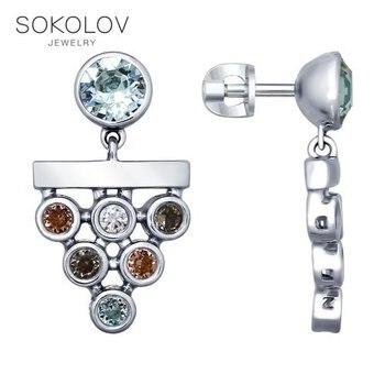 SOKOLOV drop earrings with stones in silver fashion jewelry 925 women's male, long earrings