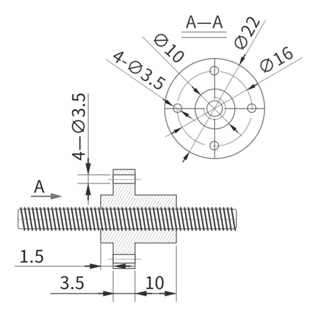 sourcing map 450mm T8 Pas 2mm PB 12mm Vis t/ête filet/ée Tige /Écrou Cuivre pour imprimante 3D