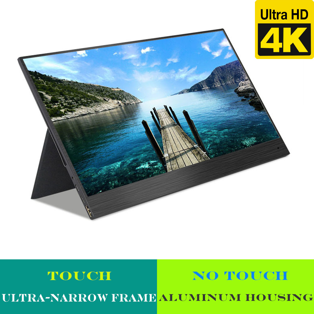 Best 4K portable monitor 144hz for gaming, pc, smart phones (HDMI, Type C, A-grade panel, ultra-narrow frame, Aluminum housing) image