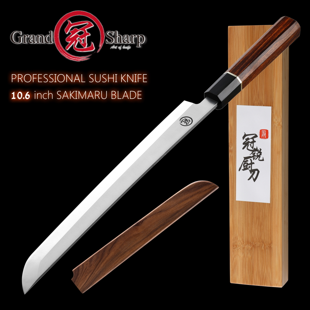 couteau a sushi japonais sakimaru lame en acier inoxydable 27 cm manche en bois rose coffret cadeau
