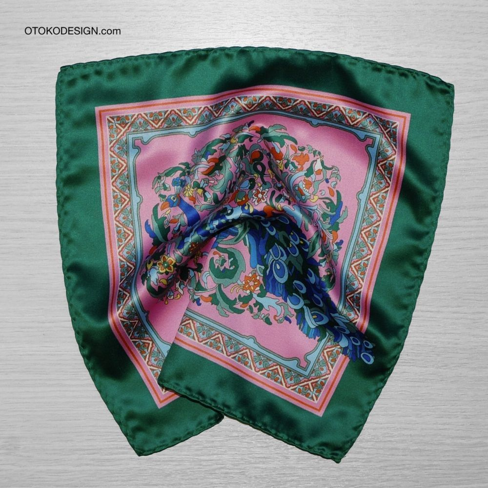 Green Peacock Pattern Pocket Square Pink Background (53134)