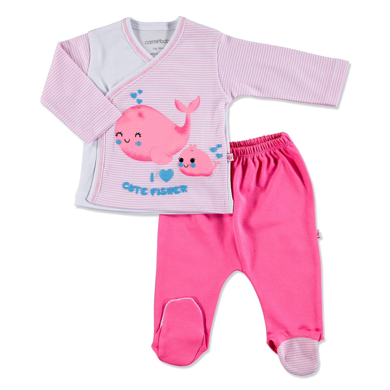Ebebek Carmin Baby Summer Girl Cute Whale Bodysuit Pants Set
