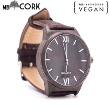 Cork watch vegan wrist watch wood color