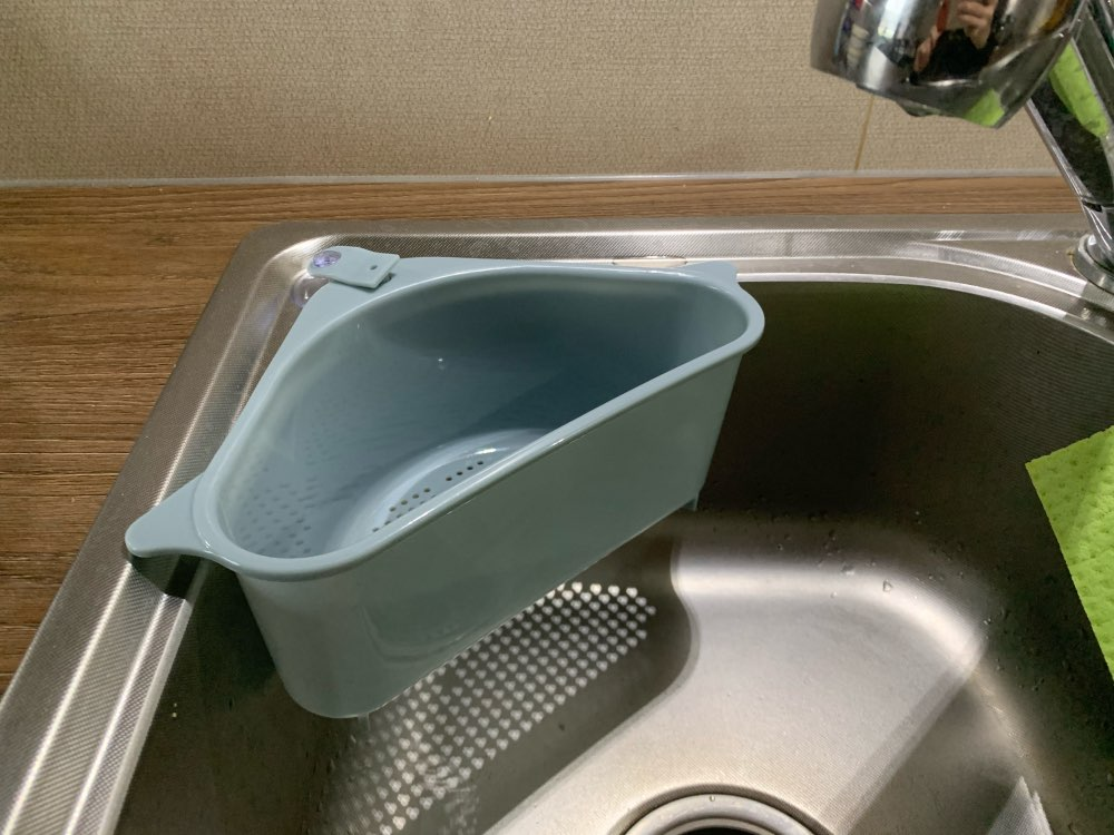 Triangular Sink Strainer Drain Fruit Vegetable Drainer Basket Suction photo review