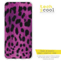 FunnyTech®Stand case for IPhone 5C Silicone L Texture pink leopard