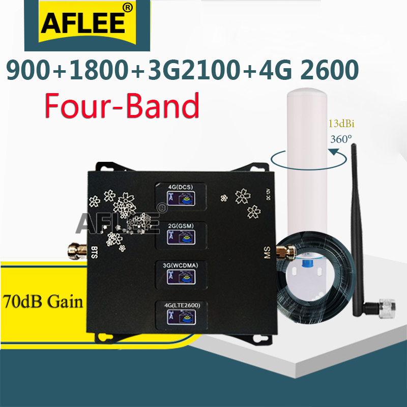 Hot!!Four-Band 900 1800 2100 2600mhz GSM Repeater 4G Cellular Amplifier 2g 3g 4g Network Mobile Signal Booster GSM DCS WCDMA LTE