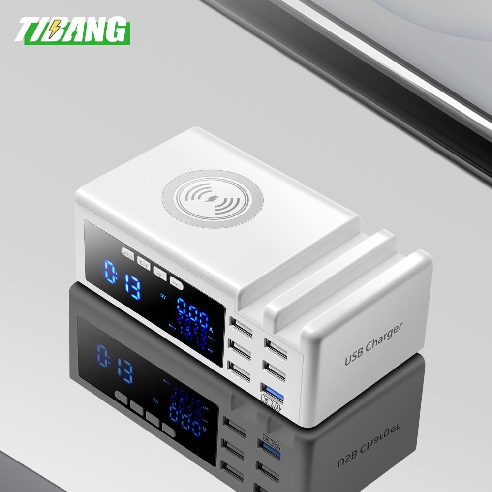 Беспроводное зарядное устройство Qi с 6 портами и ЖК-дисплеем, USB 3,0, зарядное устройство с подставкой, QC 3,0, портативное быстрое зарядное устро...