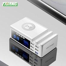 6 portas lcd qi rápido carregador sem fio usb 3.0 carregador com suporte qc 3.0 carregador rápido portátil para xiaomi huawei iphone 12 pro