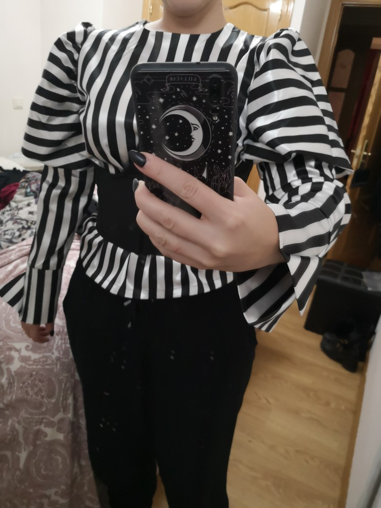 Striped Shirts Blouse Women O Neck Lantern Long Sleeve Vintage Elegant Tops Female Spring Fashion Clothes photo review