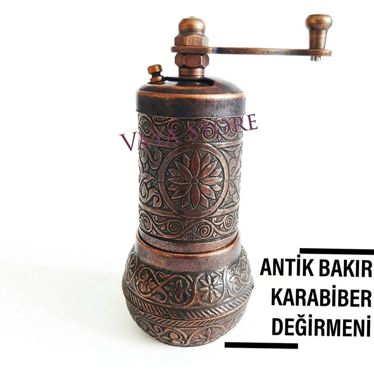 SSS1- SILVER- Authentic -Anatolian- Turkish -Copper -Grinder- Salt -Pepper -Coffee-Mill-Spice-Salt-Grinder- Pepper -Grinder -Made- in-Turkey