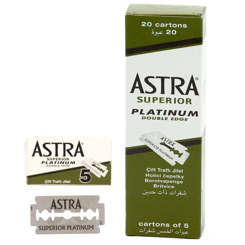 100 Astra Superior Platinum Double Edge Shaving Razor Blades 100 Pcs Barber Favored By Astra
